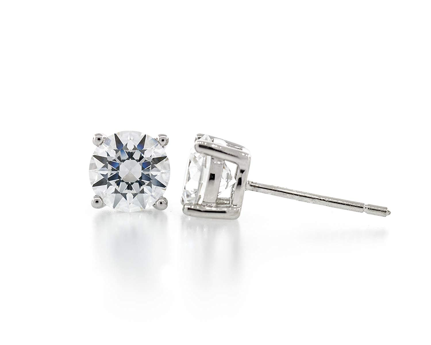 9mm Acacia Collection Premium Quality Simulated Diamond CZ Hypoallergenic Nickel Free Sterling Silver Stud Earrings Round Ideal Cut 5.5 Carat ctw