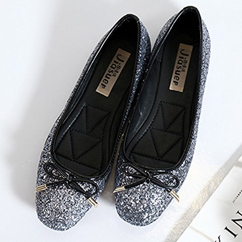 Azbro Mujer Zapatos Planos Lentejuleas Puntera Cuadrada Decoración de Arco Gris