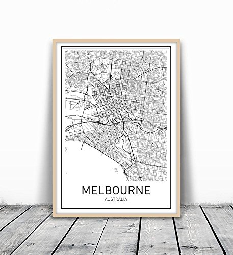 Melbourne Poster, Melbourne Map, Map of Melbourne, Melbourne Map Print, Melbourne Map Art, Modern