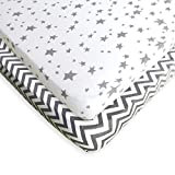 Best Mattress for Graco Pack N Play Pack N Play Fitted Sheet Set - 2 Pack - 100% Soft Jersey Cotton Pack N Play Sheets For Mini And Portable Crib - Stylish Grey Chevron / Stars Print - Perfect Playard Sheets For Baby Girl or Baby Boy
