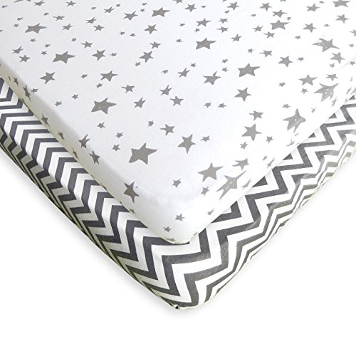 Pack N Play Sheets - 2 Pack - 100% Soft Jersey Cotton Pack N Play Fitted Sheet Set For Mini And Portable Crib - Stylish Grey Chevron / Stars Print - Perfect Playard Sheets For Baby Girl or Baby Boy (Portable Crib Sheet Fitted)