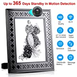 Spy Camera Wireless Hidden - Hidden Camera WiFi Photo Frame - Nanny Cams with Cell Phone APP - 720HD Night Vision & Motion Detection 365 Days Battery Powered Standby Instant Alerts for Indoor Security