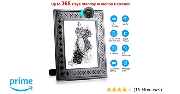 Spy Camera Wireless Hidden - Hidden Cam WiFi Photo Frame - Nanny Cams with  Cell Phone APP - 720HD Night Vision & Motion Detection 365 Days Battery