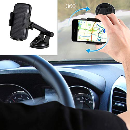 Car Phone Mount, Levrea Car Phone Holder 360-Degree Rotation Cell Phone Holder Suitable for 3.5 to 6.5 inch Smartphones,Dashboard Clip Mount Stand Washable Strong Sticky Gel Pad