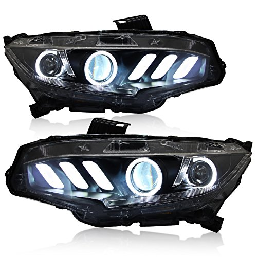 RCP -CVIH- Aftermarket Upgrade Dual-projectors Mustang Style DRL Angel Eyes  Headlight for 2016 Tenth Generation Honda Civic, with Dynamic Flowing LED