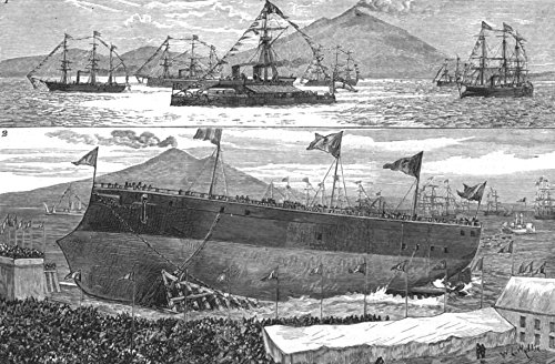ITALY. Launch. Ironclad Italia Castellamare; UK fleet King Humbert Naples - 1880 - old antique vintage print - engraving art picture prints of Italy Ships - The - Engraving 1880 Antique