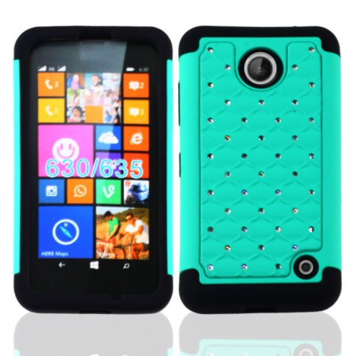 Nokia Lumia 635 Case , Lumia 635 Case, [ Storm Buy ] Hard & Soft Sturdy Hybrid Gel Rhinestone Bling Diamond Armor Defender [ Anti Scratch ] Case Cover For - Nokia 635 Free Shipping Case