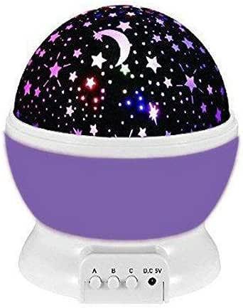 جهاز العرض الدوار مصباح ليلي بالنجوم ضوء نجمة السماء العرض LED غرفة نوم الطفل الأرجواني