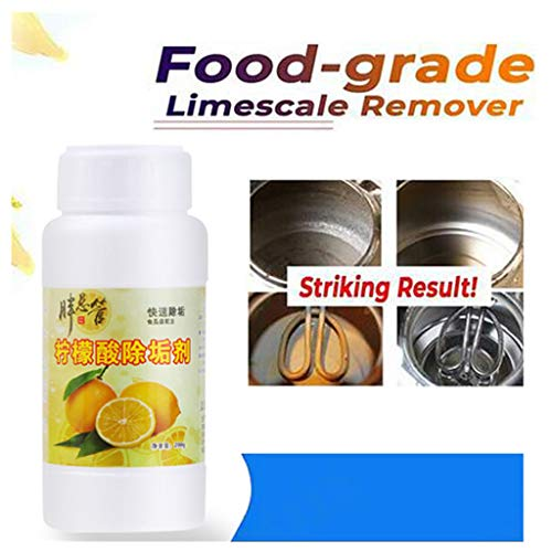 Fewear Food-Grade Citric Acid Organic Acid Stain Remover, Limescale Cleaner, Metal Inner Container Cleaner for Electric Pots Coffee Pot,Faucets,Showers,Kitchen Sink,Aluminumware (Yellow)