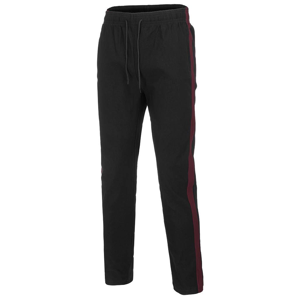 Sikye Mens Splicing Slim Fit Pocket Athletic Trouser Jogger Gym Running Pant Comfortable Leisure Tight