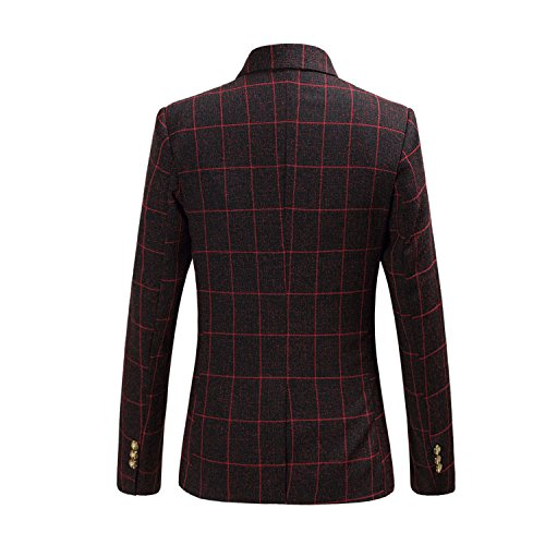 Separate Blazer Jacket Wine YFFUSHI Fit Button Red One Classic Men's Plaid Slim qxU8Bw