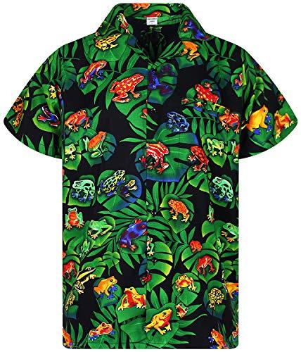 Funky Hawaiian Shirt, Rainforest Frogs, black, S