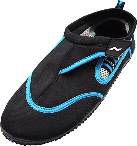 NORTY Mens Skeletoe Aqua Water Shoes for Pool Beach, Surf, Snorkeling, Exercise Slip on Sock, Black, Blue 40307-10D(M) US from NORTY