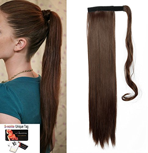 S-noilite Newest Pop Long Straight Curly Wavy Wrap Around on Ponytail Clip in Pony Tail Hair Extensions Natural Synthetic Hairpiece (23inchs-straight, medium brown)