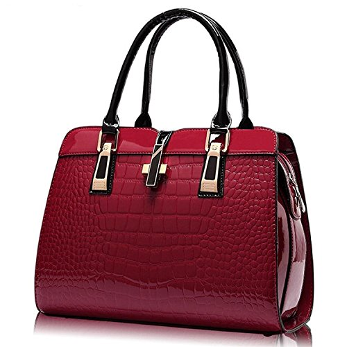 Women��s body Handle Pattern Shoulder Crocodile Handbags Top Red Bags Tote Cross Purse Leather Wine qw8rSqF