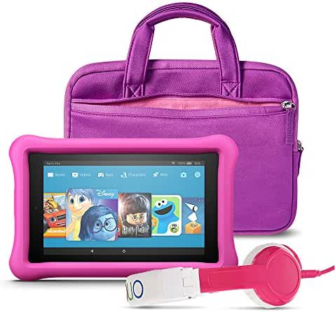All-New Fire 7 Kids Listening Bundle with Fire 7 Kids Edition (Pink), NuPro Sleeve (Purple/Pink) and Onanoff Foldable Headphones (Pink)