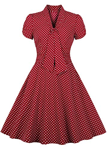 Nihsatin Women's Elegant Bow Tie Swing Casual Party Ruched Dress Vintage 50's 60's Rockabilly with Pockets