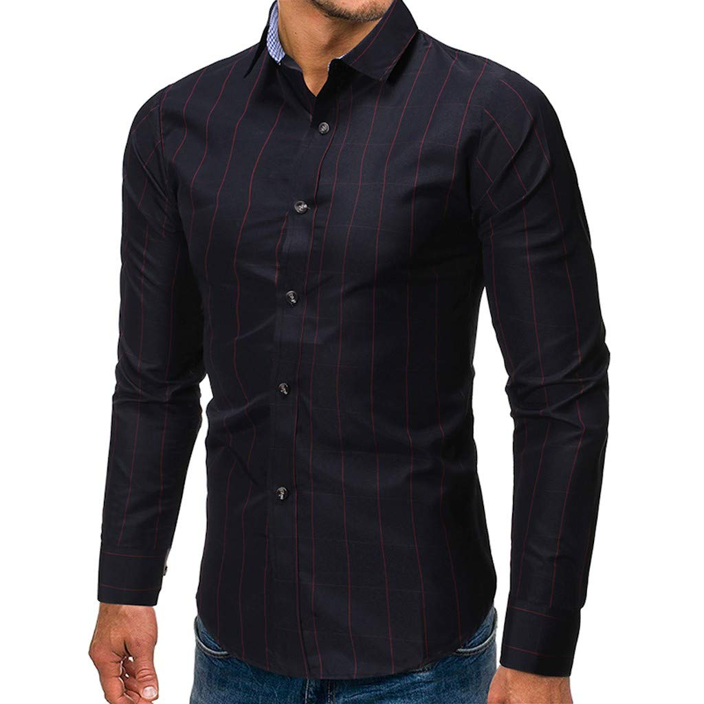 Hstore Mens Slim Fit Cotton Business Casual Shirt Striped Long Sleeve Button Down Dress Shirts