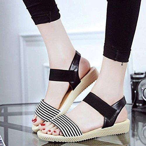 Womens Sandals,Clode® Fashion Ladies Girls Sweet Peep Toe Flat Sandals Summer Beach Shoes Black