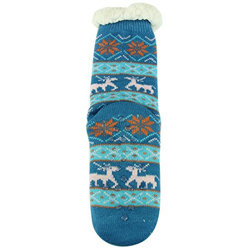Forfoot Womens Winter Warm Thermal Fleeced Lined Knit Holiday Fuzzy Slipper Socks with Grippers Blue nUofG2kD
