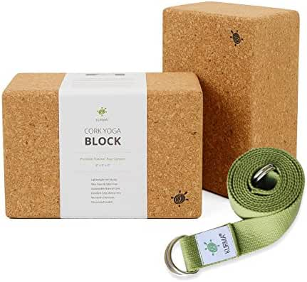 Yoga Blocks 2 Pack and Strap Set, Cork and Cotton, Professional Quality, Natural, Grippy, Durable