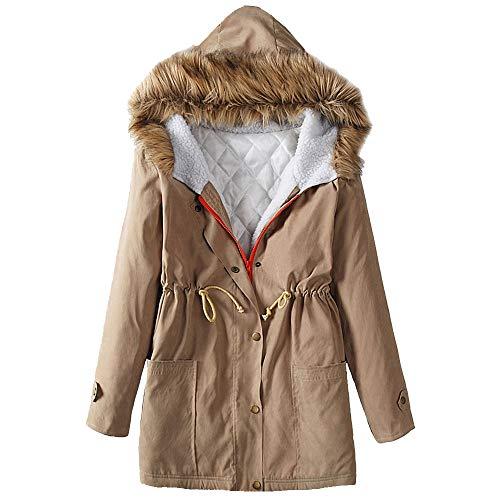 Women's Jacket Thicken Zip Hooded Fleece Lined Warm Long Jacket Coat Outwear with Pocket by Nevera Khaki by Nevera Women