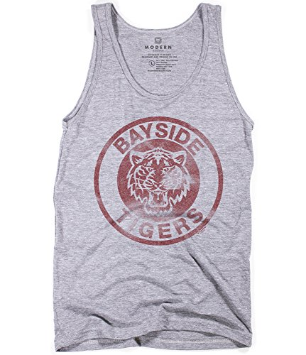 Superluxe Clothing Mens Unisex Vintage 90s Bayside Tigers Funny TV AC Slater Wrestling Athletic Tri-Blend Tank Top, X Small, Athletic Grey