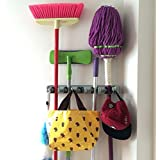 Champ Grip®. The Strongest Grippers® Mop Broom Holder Found only on Amazon with 5 Ball Slots and 6 Hooks. Items Stay Put Guaranteed Non Slide. Lifetime Guarantee.