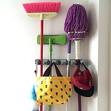 Champ Grip. The Strongest Grippers Mop Broom Holder Found only on Amazon with 5 Ball Slots and 6 Hooks. Items Stay Put Guaranteed Non Slide..