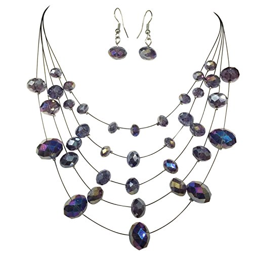 Multi Row Glass Beaded Black Illusion Wire Lightweight Necklace and Dangle Earring Set (Purple)