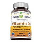 Amazing Nutrition Amazing Formulas Vitamin D3- 1,000 IU, 240 Softgels- Important Vitamin For Optimal Body Function- Supports Bone Health, Cardiovascular Health, Kidney Function and Over-all Well-being For Sale