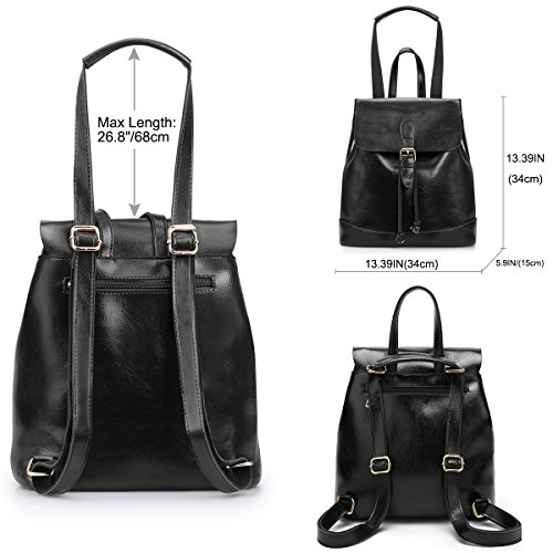 Purse Women for Girls SAMSHOWME Casual PU Leather Bag Shoulder Bag Travel Backpack Black HExxqT6S