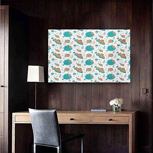 (duommhome Underwater Abstract Painting Flounder and Trout Naive Lino Style Algae Underwater Marine Ocean Sea Pattern Natural Art 28