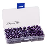 PandaHall Elite Purple Glass Pearl Round Beads 4mm 6mm 8mm 10mm Various Size Mix Lot Box Set with Container Value Pack (400 pcs Box Set)