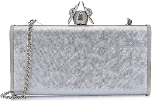 Dexmay Womens Clutches Large Evening Bag with White Flower Closure Metallic PU Leather Clutch Purse Silver by DEXMAY DM