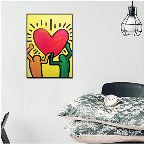 Cuadro en lienzo Cuadro famoso Amor Arte Pintura abstracta Cuadros de pared para sala Cuadros Decoracion del hogar -50cmx70cm (sin marco)