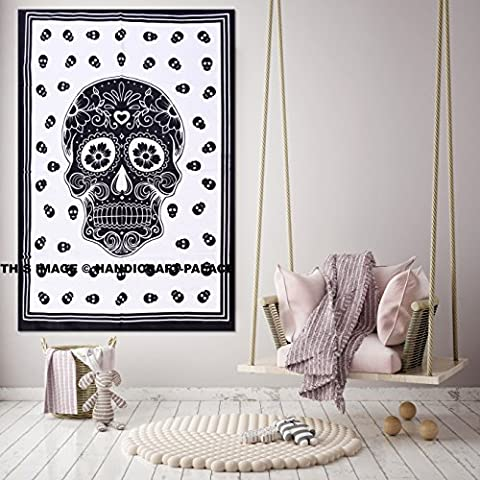 Skull Designs Cotton Hippy Indian Mandala Wall Hanging Bohemian Throw Decor Yoga Mat Tapestries Mindful Skull Tapestry Throw Hanging Magical Decor (Indian Design Throw Rugs)