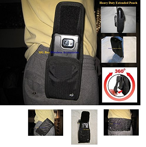 Nite Ize Black Extended Wide Cargo Vertical / Horizontal Heavy Duty Rugged XX-large Holster Pouch extremely durable W/Swivel 360 Rotating Belt Clip, Fits Motorola Nexus 6 (AT&T/T-Mobile/Sprint/Verizon/U.S Cellular With Hybrid Cover Case On Cellphone ()