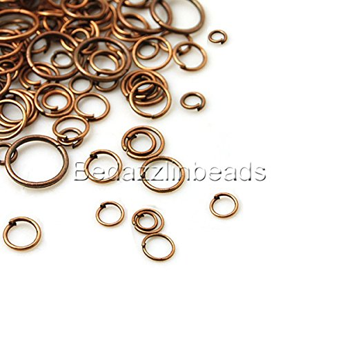 (300 Assorted Open Round Jewelry Jumprings in a Mix of Small - Big Ring Findings (Antique Copper) )