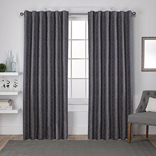Exclusive Home Zeus Solid Textured Jacquard Blackout Window Curtain Panel Pair with Back Tab Top, 52x96, Black Pearl, 2 Piece
