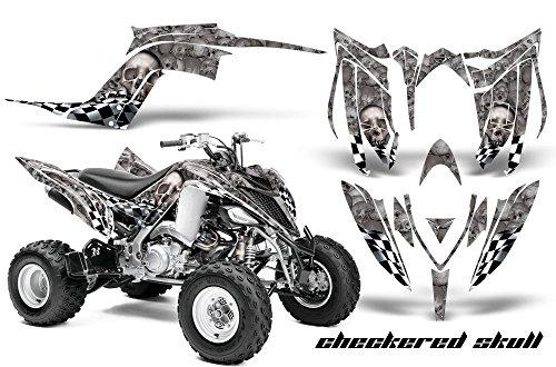 2013-Current- Yamaha Raptor 700 AMRRACING ATV Graphics Decal Kit:Checkered Skull-Silver