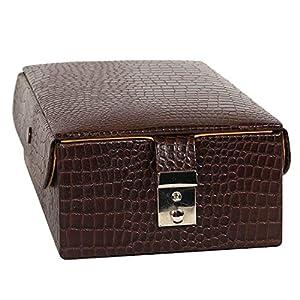 C Comfort Genuine Leather Jewellery Box Big Locker Jewellery Storage Box Brown, 2Tray