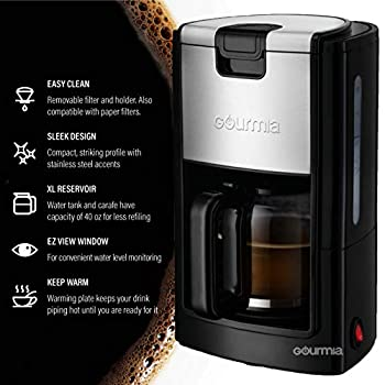 Gourmia GCM1835 10-Cup Automatic Drip Coffee Maker with Extra-Large 40-Ounce Reservoir -One-Touch Brewing - Glass Carafe - Stainless Steel Accents - Reusable Filter - 900 Watts