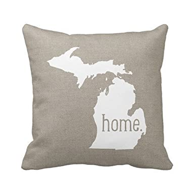 B Lyster shop Cotton Linen Decorative Throw Pillow Case Cushion Cover Michigan Home State pillow cases 18 x 18