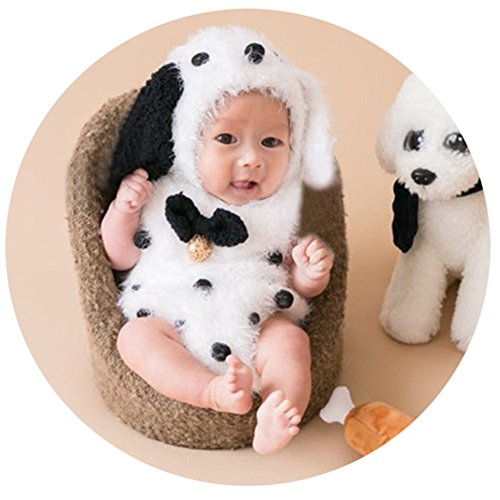 Baby Photography Props Hat Rompers Newborn Photo Shoot Outfits Crochet Costume Infant Knitted Clothes Puppy Hats Set (Black)