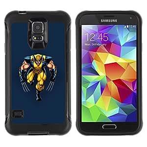 LASTONE PHONE CASE / Suave Silicona Caso Carcasa de Caucho Funda para Samsung Galaxy S5 SM-G900 / Yellow Superhero With Claws
