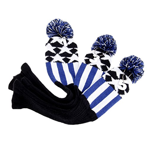 Golf Head Covers Knitted 3 Pcs/set Pom Pom Golf Hybrid Club Head Covers Soft Wool Knitted Golf Headcover 1Pc For Driver & 2pcs For Fairway Woods Blue Black