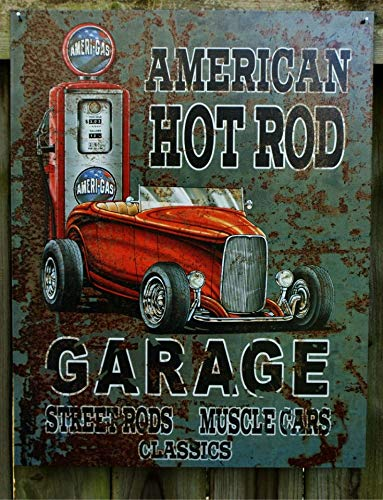American Hot Rod Garage Muscle Car Roadster Gas Pump Tin Sign Great Man Cave Metal Wall Signs Hall Garage Poster TIN Sign 7.8X11.8 INCH