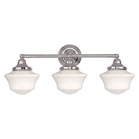 Schoolhouse Bathroom Light With Three Lights In Polished Nickel
