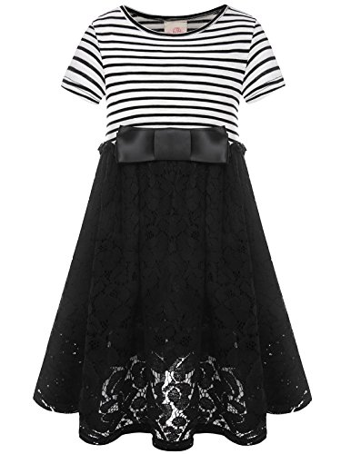 Bonny Billy Girl's Casual Satin Lace Dress Back to School Clothes with Bow 7-8 Years Stripe]()